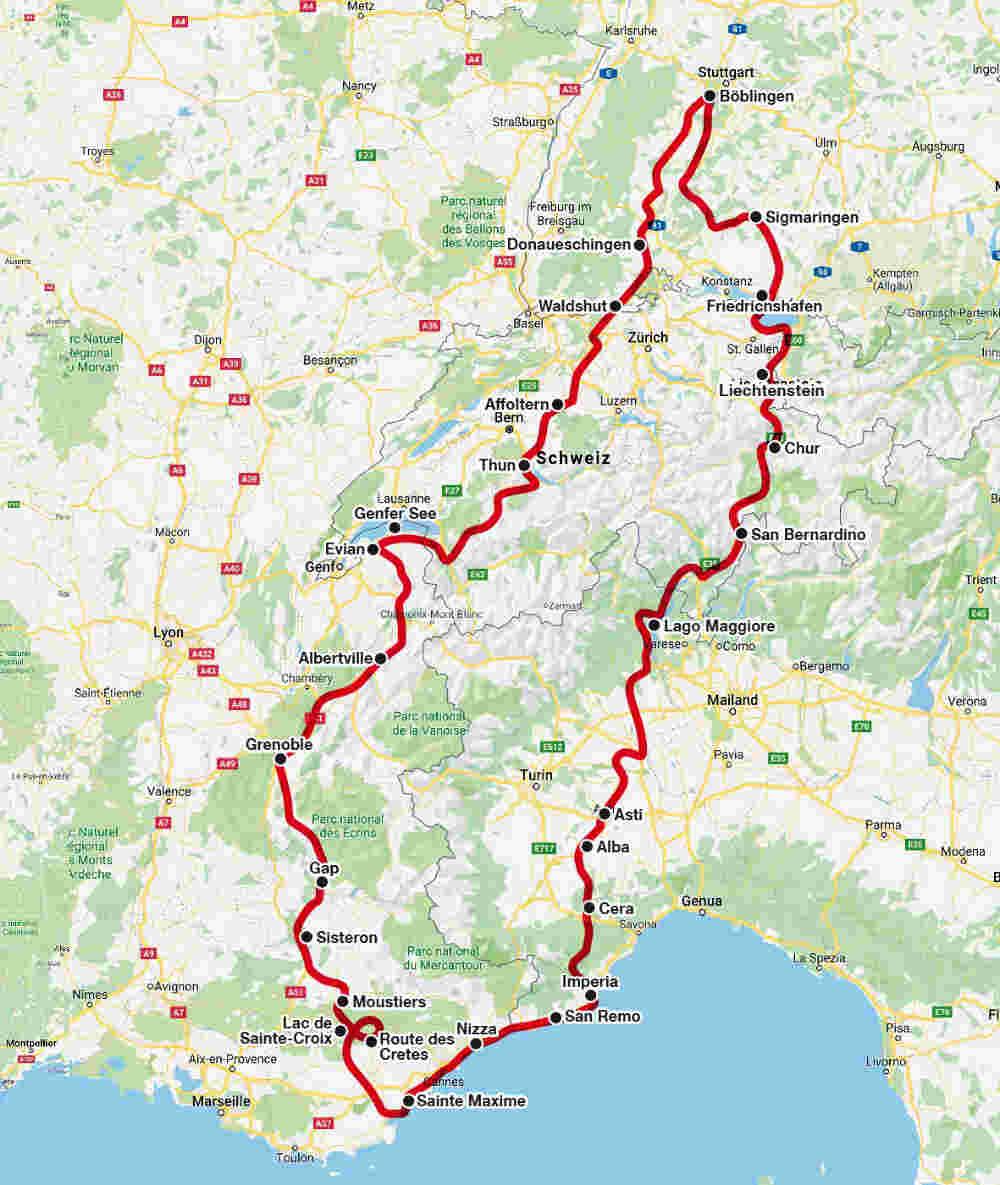 Landkarte der Südfrankreich-Tour